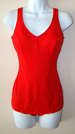 red vintage 1960's  bathing suit