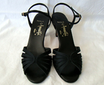 black satin 1970s shoes