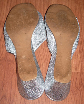 vintage silver 70s shoes back